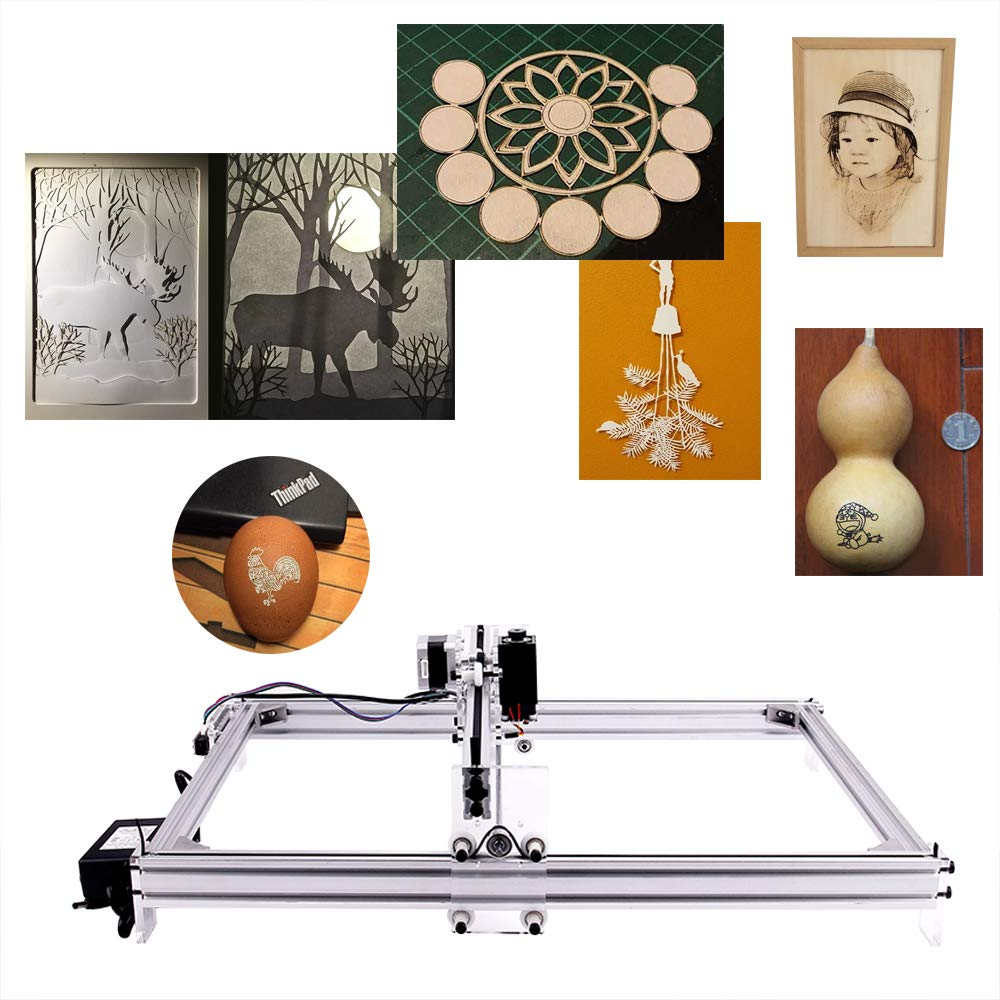 MYSWEETY DIY CNC Laser Engraver Kits, 40x50cm 2500mW Wood Carving Engraving Cutting Machine Desktop Printer Logo Picture Marking, 2 Axis by MYSWEETY (Image #6)