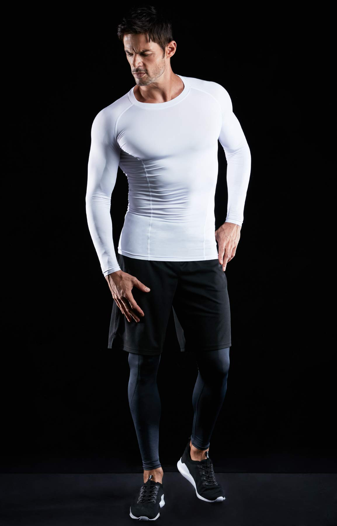 ATHLIO AO-BLS01-KCW_Large Men's (Pack of 3) Cool Dry Compression Long Sleeve Baselayer Athletic Sports T-Shirts Tops BLS01 by ATHLIO (Image #8)