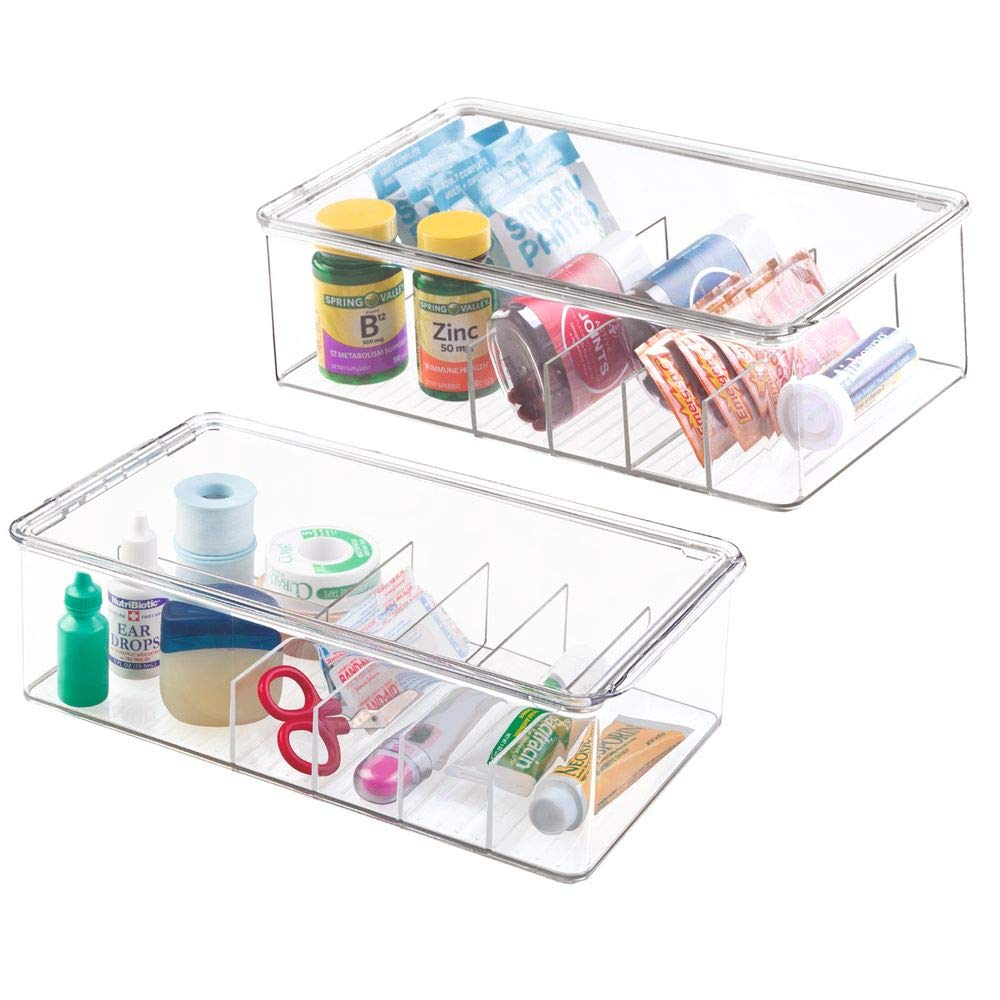 mDesign Stackable Plastic Storage Bin Box with Lid - Divided Organizer for Vitamins, Supplements, Serums, Essential Oils, Medicine Pill Bottles, Adhesive Bandages, First Aid Supplies - 2 Pack - Clear by mDesign
