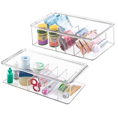 mDesign Juego de 2 Cajas organizadoras con 5 divisiones Cada una – Cajas de plástico con Tapa apilables para medicamentos y vitaminas – Recipientes de ...