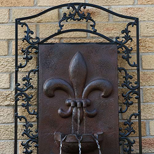 Sunnydaze French Lily Outdoor Wall Mounted Water Fountain with Electric Submersible Pump, 33-Inch, Iron Finish by Sunnydaze Decor (Image #3)