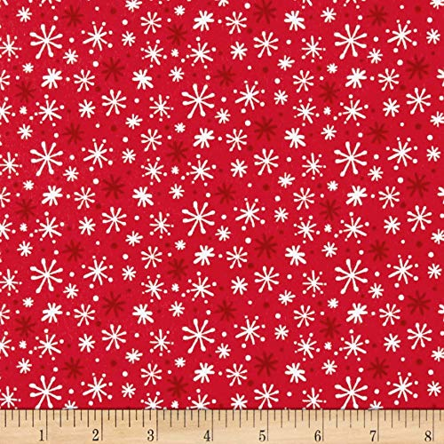 Flannel Fabric Northcott (Northcott Yeti for Winter Snowflakes Flannel Red Fabric by The Yard)