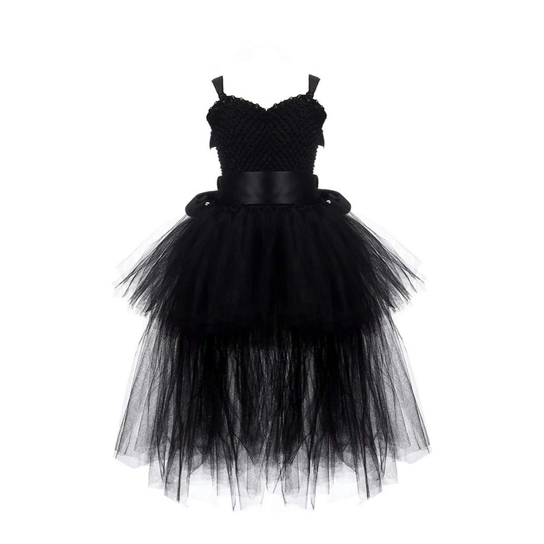 Black Girls Tutu Dress Tulle V-Neck Train Girl Evening Birthday Party Dresses Kids Girl Ball Gown Dress Halloween Costume 2-8Y,Black,6