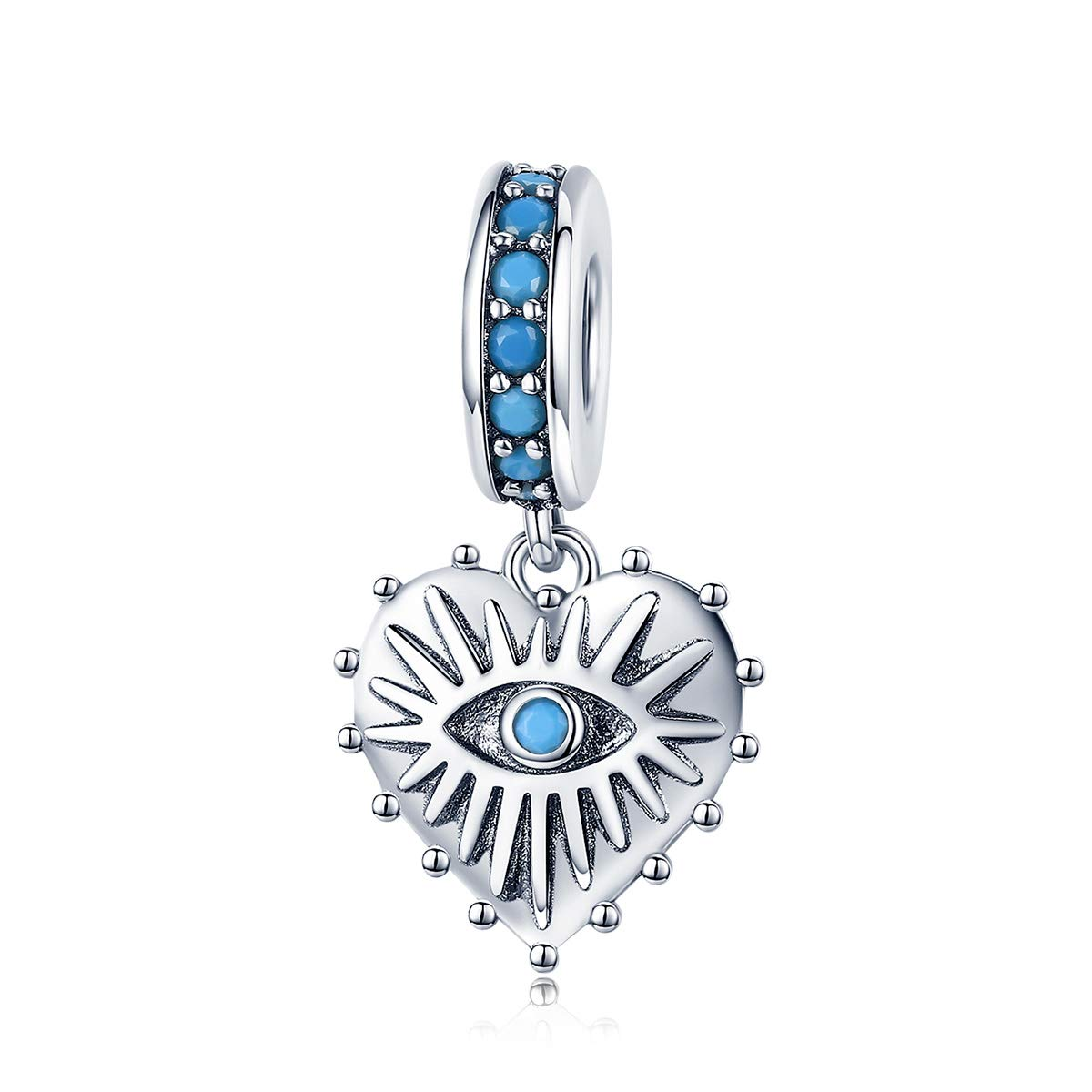 Everbling Lucky Guarding Blue Evil EyeHand of Fatima Hamsa 25 Sterling Silver Bead for European Charm Bracelet EBYZYSCC092