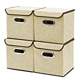 Storage Boxes [4-Pack] EZOWare Linen Fabric Foldable Basket Cubes Organizer Bin Box Containers Drawers with Lid – Beige For Office Nursery Bedroom Shelf