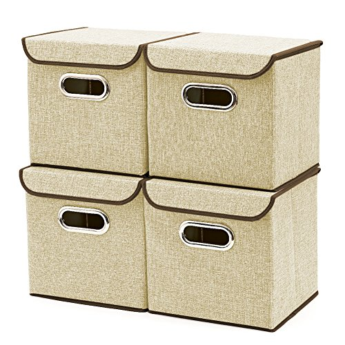Storage Boxes [4-Pack] EZOWare Linen Fabric Foldable Basket Cubes Organizer Bin Box Containers Drawers with Lid - Beige For Office Nursery Bedroom Shelf