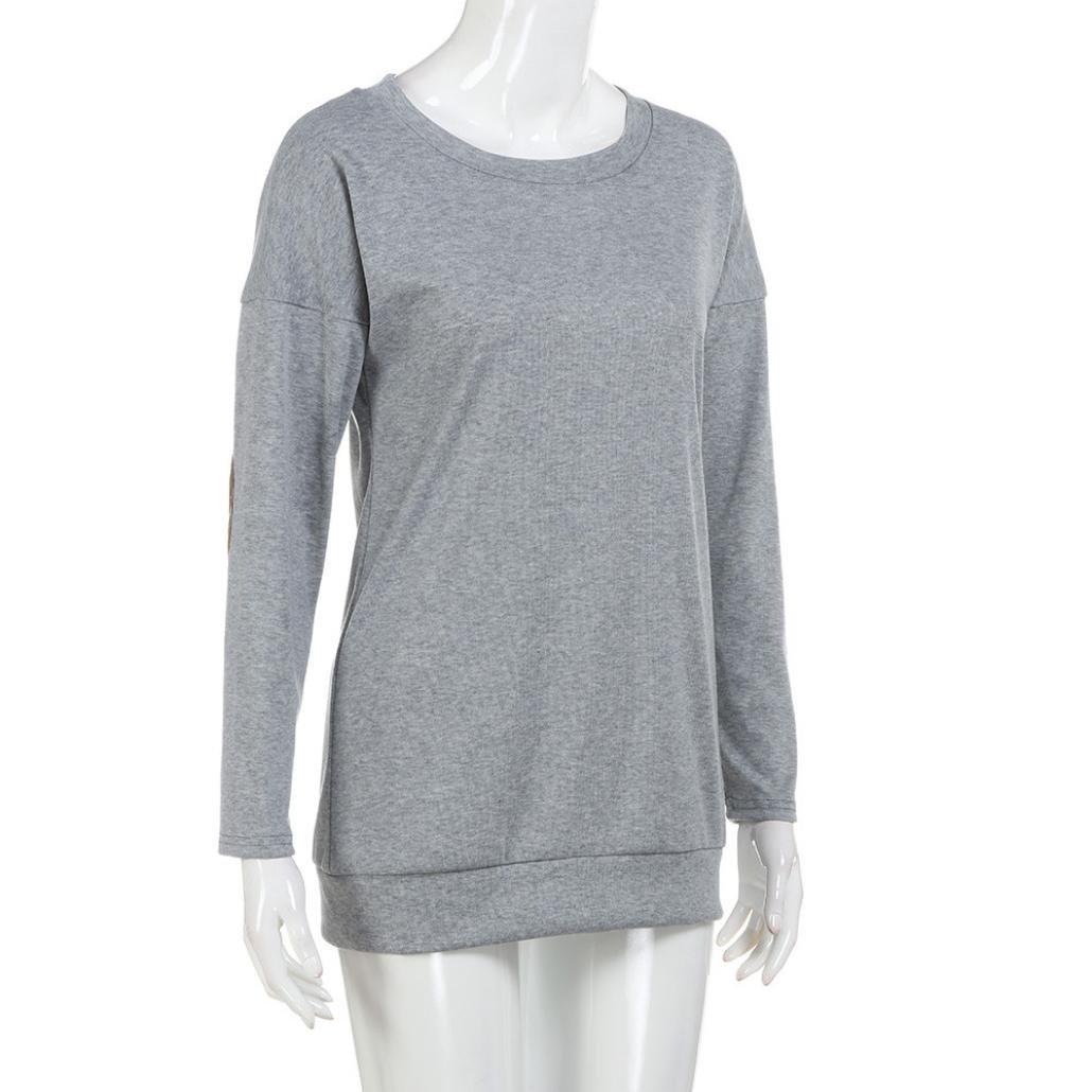 Hunputa Casual Women Loose Long Sleeve Solid Patchwork O Neck Sweatshirt Pullover T-Shirt Blouse Tops