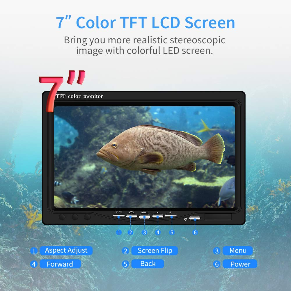 Eyoyo Underwater Fishing Camera Video Fish Finder 7 Inch LCD Monitor HD 1000 TVL Waterproof Camera Adjustable Infrared White Light for Ice Lake Sea Boat Kayak Fishing 30m 98ft Cable