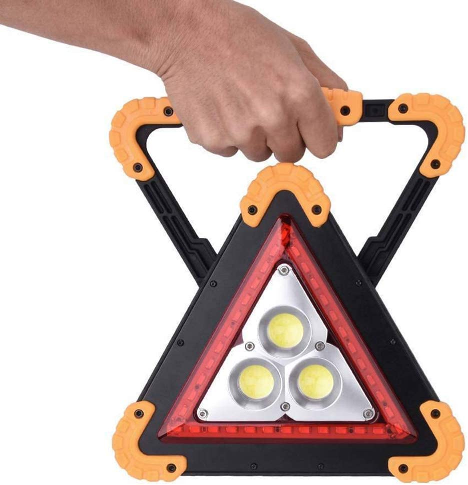Red Flashing Warning Sign LED Triangle Work Light Car Hazard Breakdown Emergency 300LM Rechargeable /& Portable
