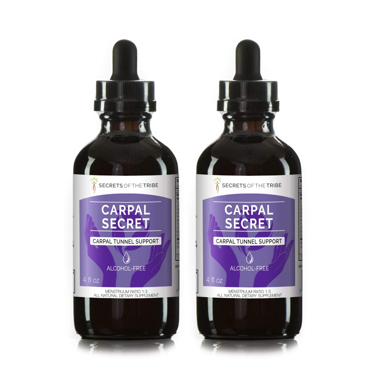 Carpal Secret Alcohol-Free Extract, Tincture, Glycerite Bromelain, Pineapple, Turmeric, Ginkgo, Peppermint, Thyme, Basil. Carpal Tunnel Support (2x4 FL OZ)