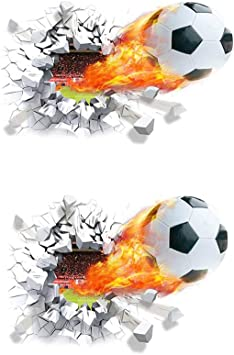 NUANNUAN 2 Piezas Etiqueta de la pared Balón de Fútbol Pegatinas ...