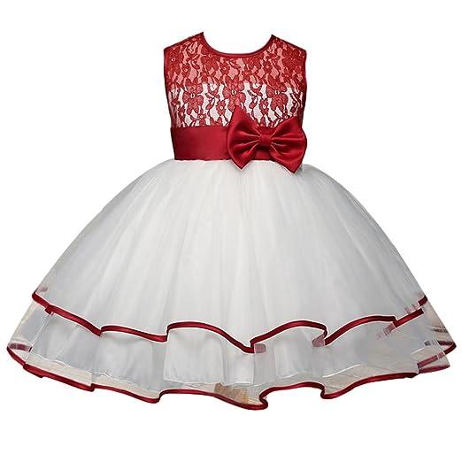 Amazon.com: Zhuhaitf Kids Hollow Back Lace Princess Dress Girls Party Multi-Layer Tulle Dress: Clothing
