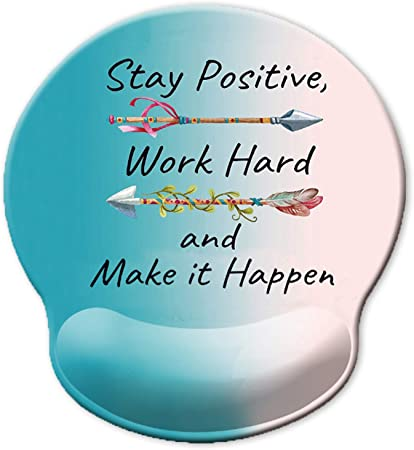 Stay Positive Work Hard and Make It Happen Arrow Print Inspirational Quote Cute Blue Gradient Mouse Pad ITNRSIIET Ergonomic Mouse Pad with Gel Wrist Rest Support Pain Relief Wrist Rest Pad