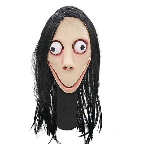 Euopat Máscara de Peluca de Halloween, Juego de la Muerte Máscara asustadiza de Momo, máscara de Cabeza Completa con Peluca, Accesorios de Disfraces ...