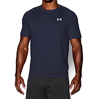 Men's UA TechTM Shortsleeve T-Shirt Tops by Under Armour (Midnight Navy/white, Large)