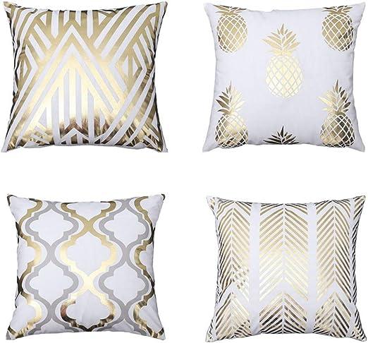 PUDDINGHH® 5 Pack Cojines Sofas Estampado de Oro Suave Decoracion Funda Cojines 45x45: Amazon.es: Hogar