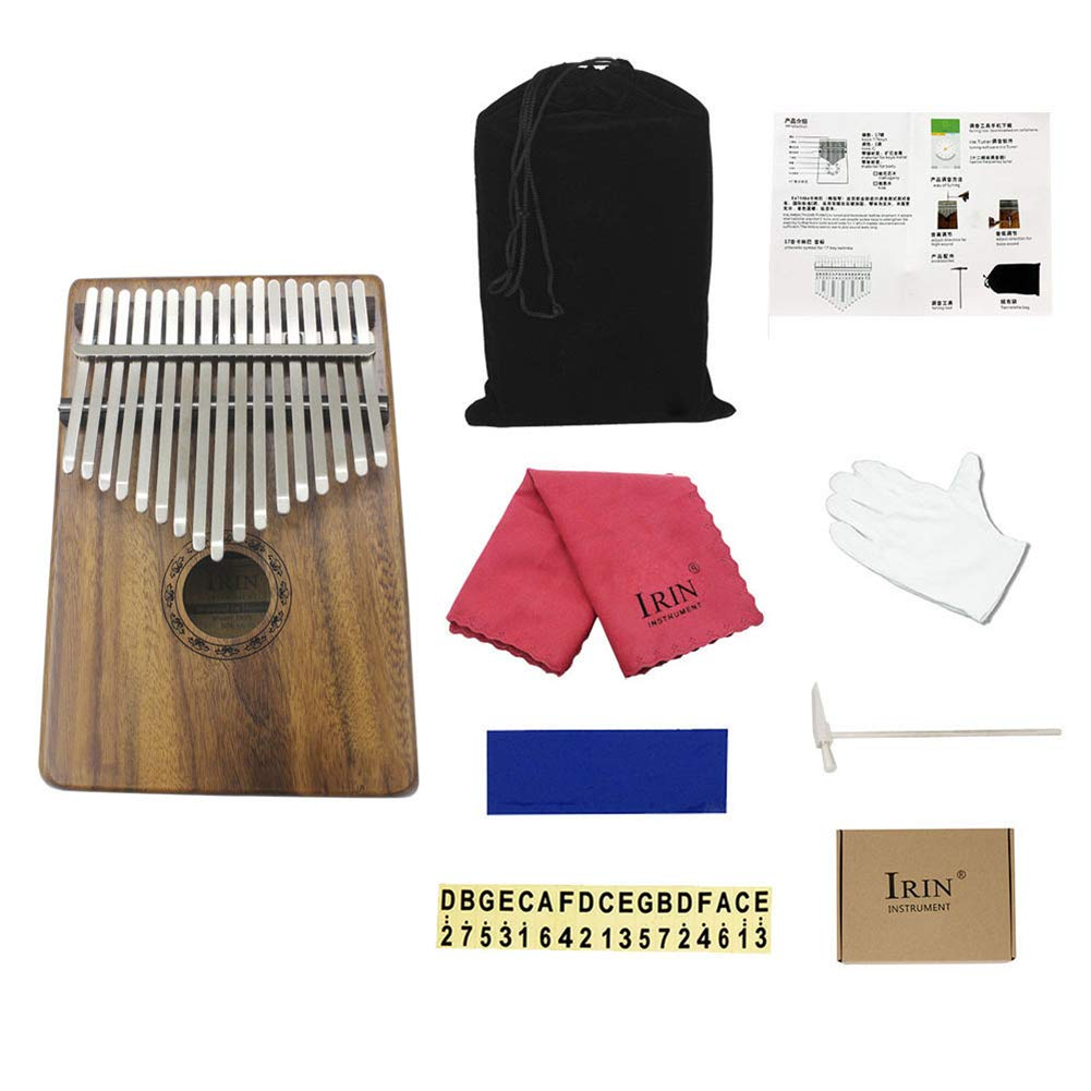 NJUY Kalimba 17 Key Thumb Piano, Packing List: Thumb Piano, Velvet Bag, Tuning Tool, Phonetic Sticker The Best Music Gift to Accompany Your Child by NJUY