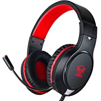 Gaming Headset for Xbox One, PS4,Nintendo Switch, Bass Surround and Noise Cancelling with Flexible Mic, 3.5mm Wired Adjustable Over-Ear Headphones for Laptop PC iPad Smartphones (Red-Black)