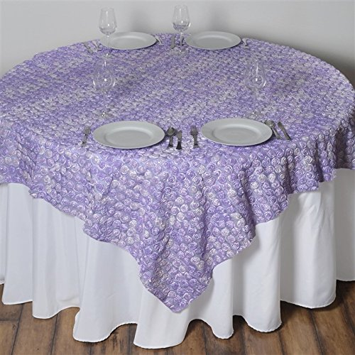 - 72 Inch X 72 Inch Triple-Tone Mini-Rosettes Table Overlays - Lavender Umbre