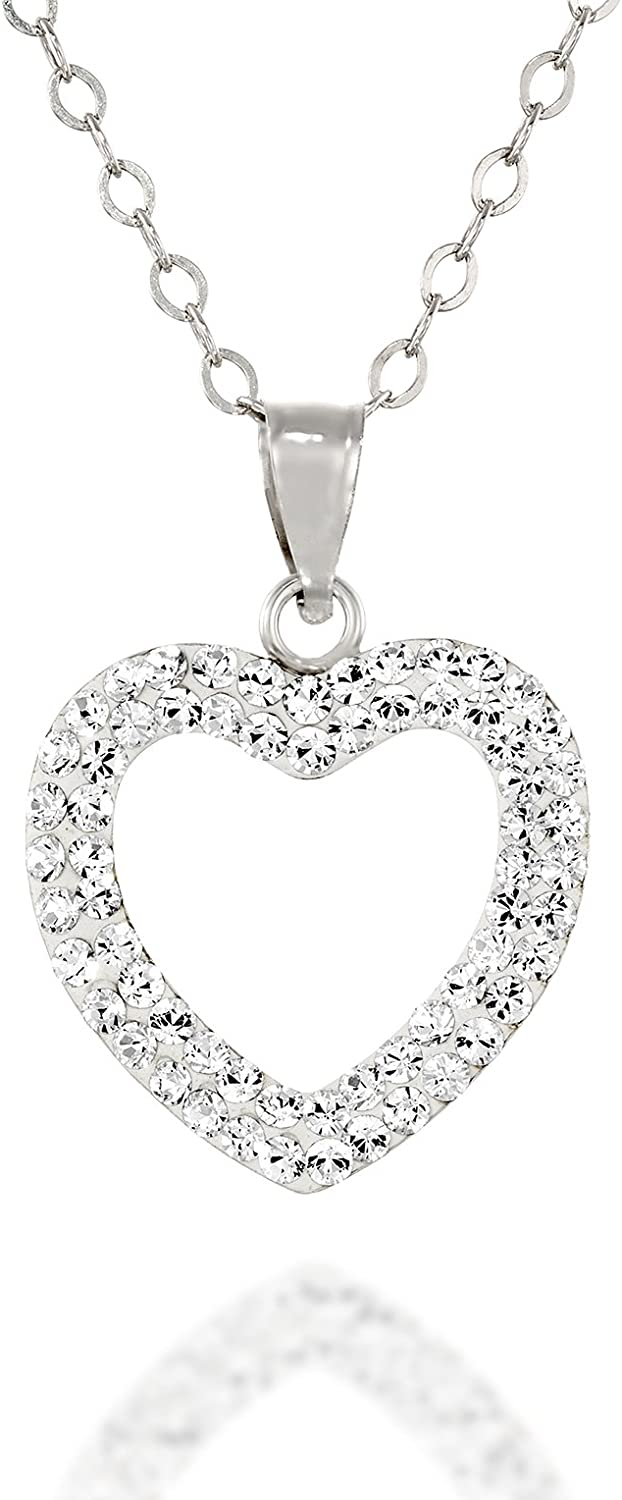 Stera Jewelry Crystal Pavé Heart Pendant Rhod Gold or 18k Factory outlet Fashion Plated