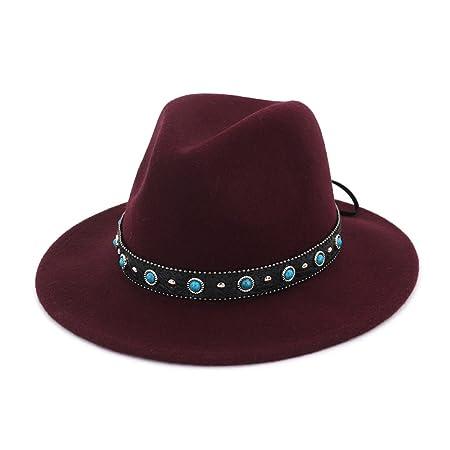 aa6cbb2c610 MXNET Women Men Fedora Pure Wool Hat Ethnic Style Couple Big Jazz Hat For Winter  Autumn Elegant Lady Dad Trilby Homburg Church Jazz Caps (Color   1)  ...