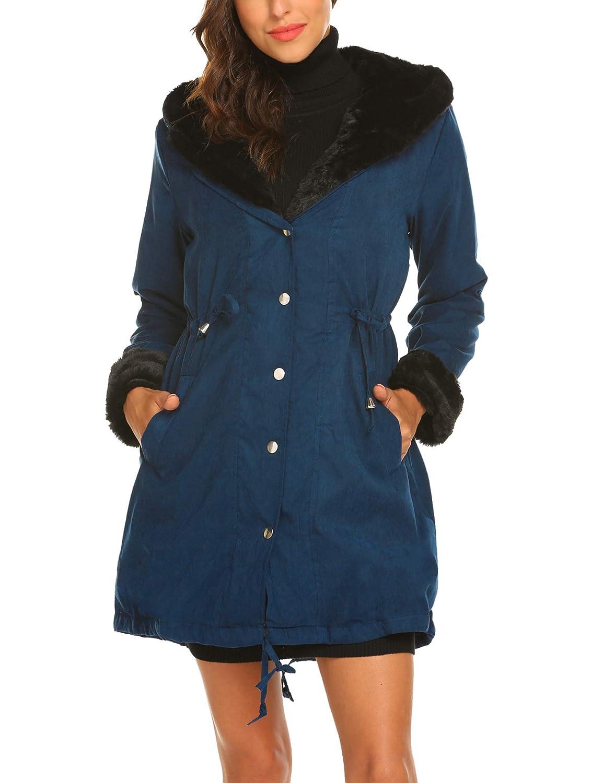0423f979bd199 Shine Womens Parka Jacket Hooded Winter Coats Faux Fur Coat Outdoor Army  Green Blue Black at Amazon Women s Coats Shop