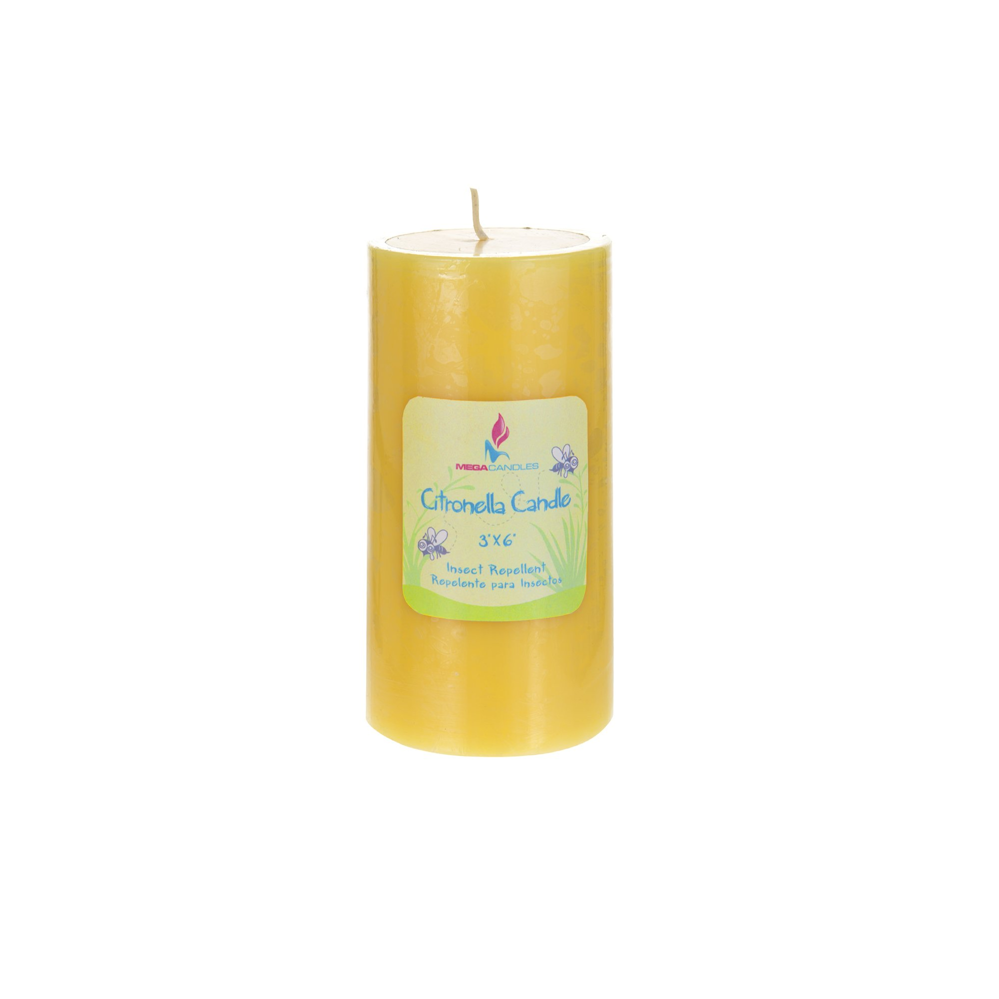 Mega Candles 1 pcs Citronella Round Pillar Candle | Hand Poured Paraffin Wax Candles 3'' x 6'' | Bug Repellent Candles For Indoor And Outdoor Use | Everyday Candles For Mosquitoes And Insects