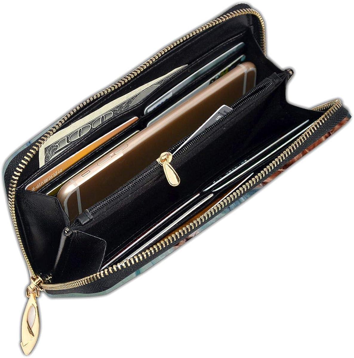 Women Genuine Leather Wallets Digital Turtle Credit Card Holder Organizer Ladies Purse Zipper Around Clutch Cash Pocket