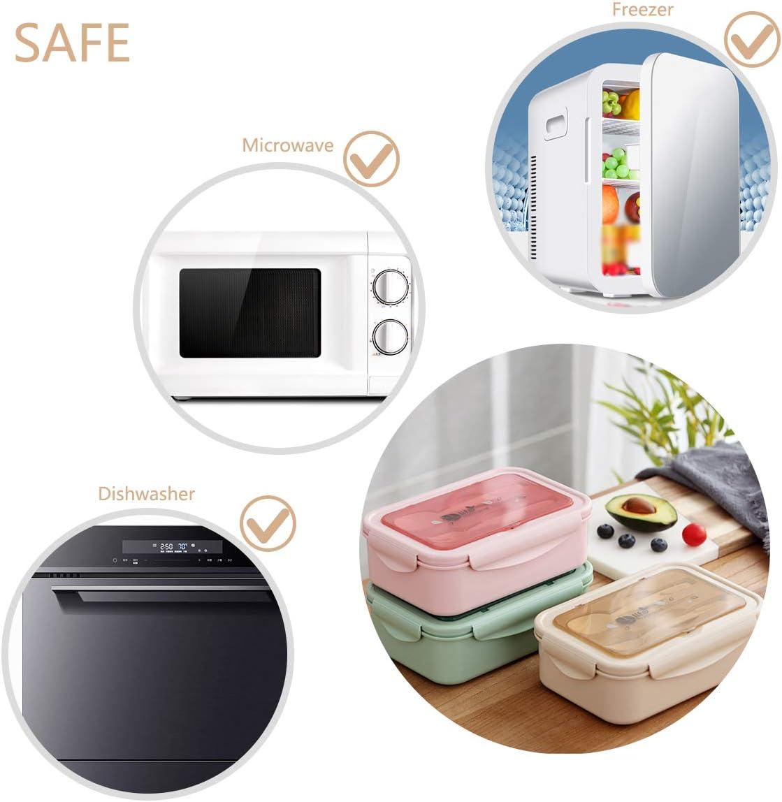 INSANY Fiambrera con 3 Compartimentos,Bento Lunch Box Contiene Cuchara y Tenedor Apto para Microondas//Lavavajillas//Refrigerador Beige//Rosa//Verde