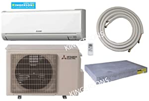 Mitsubishi 24,000 BTU SEER 18 Wall Mount Ductless Mini-Split Inverter Cool & Heat Pump System 2 Ton Energy Efficient with Lines & Pads
