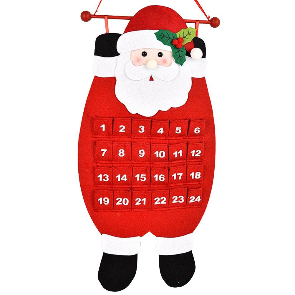 Tinksky Calendrier du festin de Noël Calendrier de Noël Trousses de tissu Arbre de Noël Pendentifs Décoration pour décoration à domicile