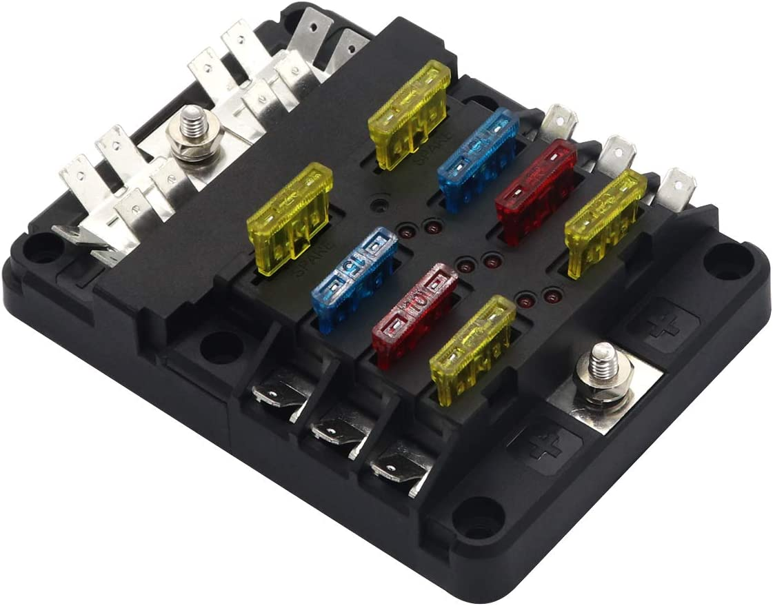 [SCHEMATICS_48IU]  6 Circuit Fuse Box with Negative Bus 12V-32V DC Fuse Block for Marine Boat  Car Truck Travel Trailer RV Solar Penel Project Camper Fuses Wiring  Connectors included formtech-inc.com | Camper Fuse Box |  | Formtech
