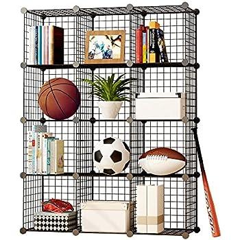 MAGINELS Wire Cube Storage Customizable Metal Shelving Unit Bookcase DIY Closet Organization System 12 Grids Black  sc 1 st  Amazon.com & Amazon.com: Safco Products 5279BL Wire Storage Cube Set Black ...