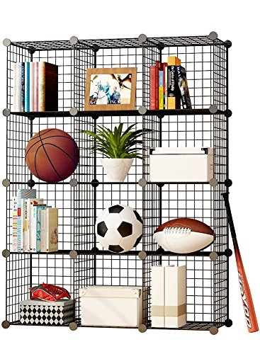 MAGINELS Wire Cube Storage Customizable Metal Shelving Unit Bookcase DIY Closet Organization System, 12 Grids Black (Modular Shelving System)