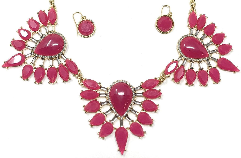 Women's Fashion Indian Teardrop Bib Collar Statement Jewelry Earring Necklace