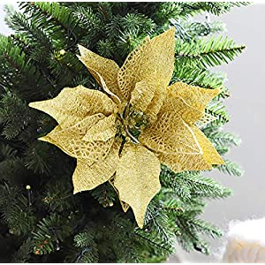 Hanobo 8Pcs Gold Glittery Artificial Christmas Flowers Christmas Tree Ornaments Dia 8.3 Inch 2