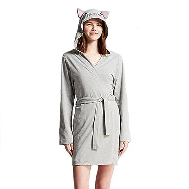 MJC International Ladies Snooze Button Wrap Around Hooded Kitty Cat Robe -  Grey - 1c2719ecf