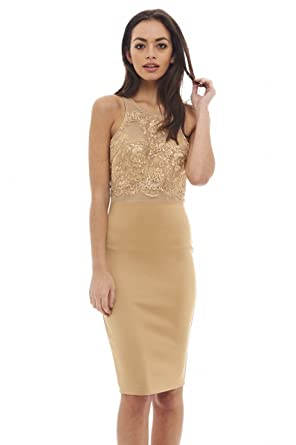 AX Paris Womens Lace Top Midi Dress(Camel, ...
