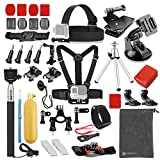 VANWALK 25-1 Accessories Kit for Gopro 4,3+,3,2, SJ4000 SJ5000 SJ6000 Camera / Chest Harness Mount / Head Strap / Gorpo Selfie Stick / Bike Handlebar Mount / Three-way Adjustable Pivot Arm