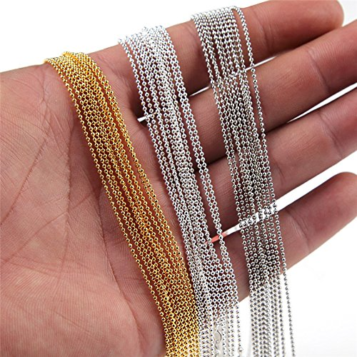 Coolrunner 15pcs/lot 1 mm Metal Ball Bead Link Chains Gold Silver Plated For DIY Making Jewelry Necklace Bracelet ()