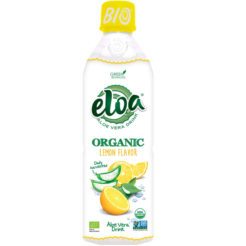 ELOA Organic Lemon Flavored Water Aloe Vera Drink with Fresh Pulp, Natural Fruit Flavor Vegan Clean Gluten Free Non GMO Healthy Citrus Tasty Juice Alternative Drink Beverage, 12 Pack Count