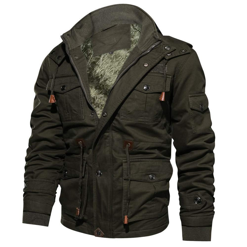 Men's Lightweight Multi Pockets Zip Front Stand Collar Military Jackets Windbreaker Casual Outdoor Bomber Cargo Coat Army Green by Close-dole