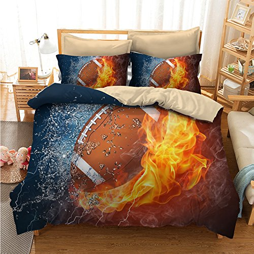 Mangogo American Fantastic Rugby American football Design,Kids Boys Bedroom Comforter Cover Bedding Set with Pillowcases No Comforter Duvet Cover Sports Themed Bedding Full Size
