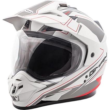 cdb4ab76 Amazon.com: GMax GM11D Expedition Matte White/Red Dual Sport Helmet -  Large: Automotive