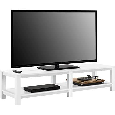 """Smart TV Stand 4K Flat Screens Fire HD Small Entertainment Center To 65/"""" White"""