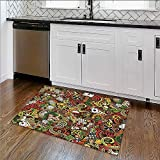 Durable Rug Doodles Style Bingo Excitement Checkers King Tambourine Vegas Bathroom Extra Absorbent W17''xH14''