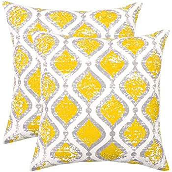 Orange OC18 Isabella Beddings Decorative Throw Pillow Covers Sturdy Cotton Accent Trellis Printed Cushion Cover for Couch Sofa Set of 2 Accent Christmas Decor Bed 18 x 18 Inches Trellis