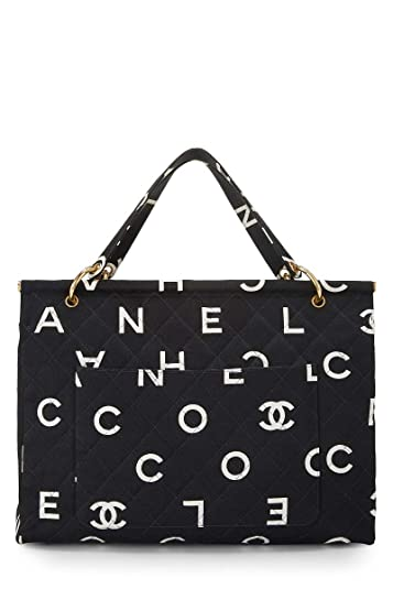 589bfe2ed309 Amazon.com: CHANEL Black Quilted Canvas Logo Frame Tote (Pre-Owned): Shoes