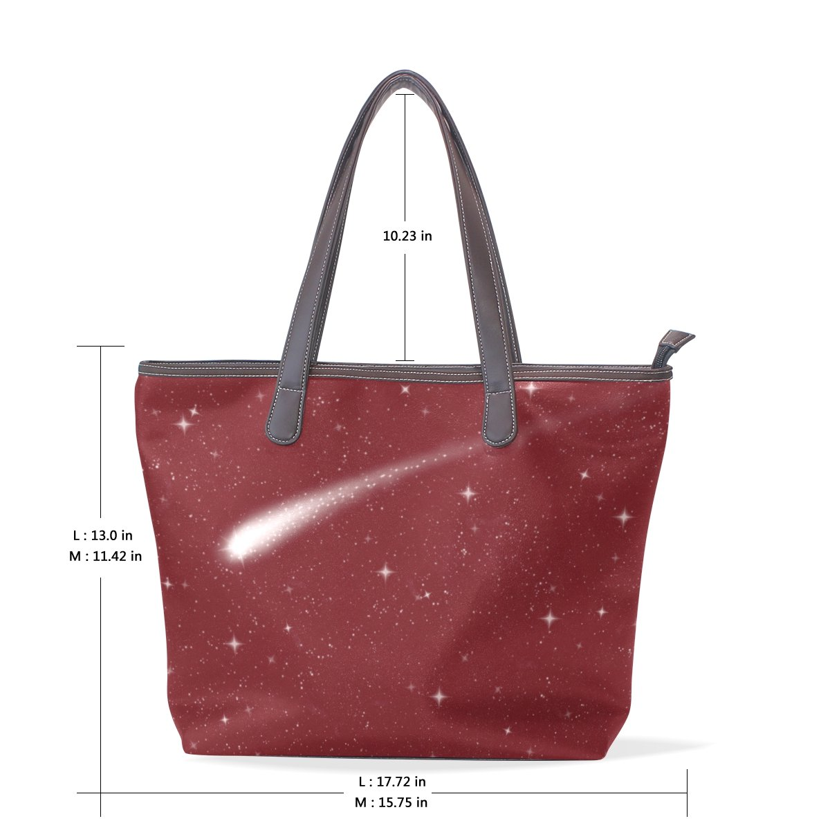 Sunlome Night Sky With Comet Pattern Handbags For Women Girls PU Leather Shoulder Tote Bag