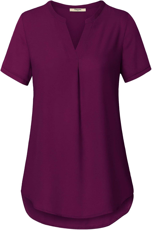 Timeson Women's V Neck Short Sleeve Curved Hem Sheer Chiffon Blouse Shirts Tops